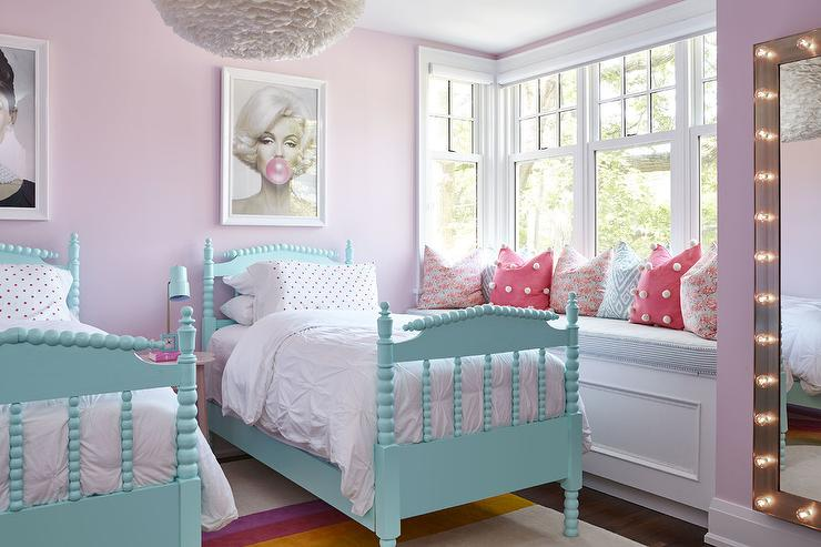 Turquoise Blue Spindle Twin Beds with White Ruched Bedding ...