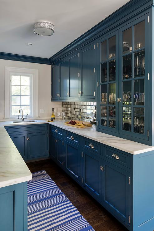 Mirrored Subway Tiles With Blue Wet Bar Cabinets