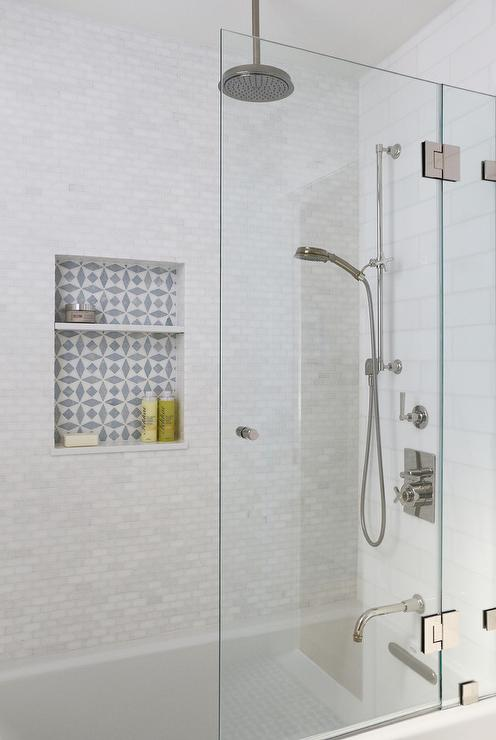 White Mini Brick Shower Wall Tiles With Niche