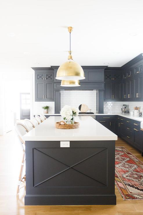 Brass Dome Lights Over Black Center Island Transitional Kitchen