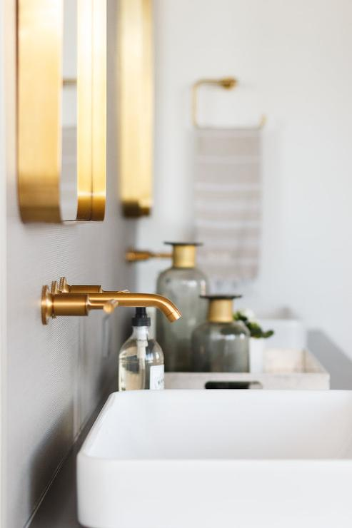 Brushed Gold Faucet Over Vessel Sink Contemporary Bathroom - Gold faucets bathroom fixtures