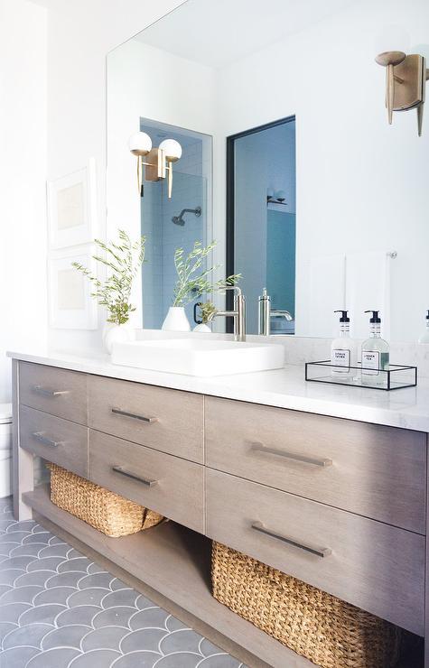 How To Create A Greyscale Bathroom: Gray Bath Vanity