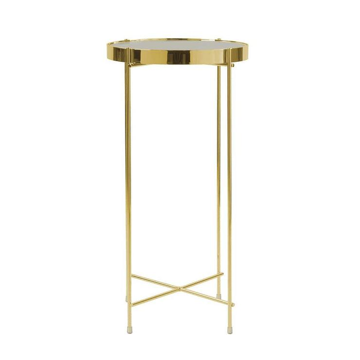 Ritz Round Gold Glass Tall Side Table
