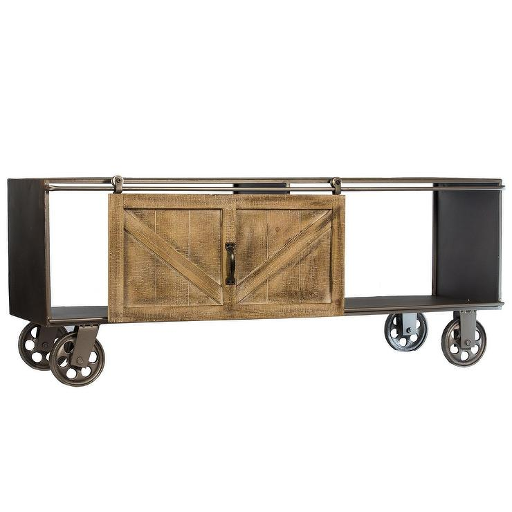 Wheeled Metal Wood Barn Door Storage Cabinet