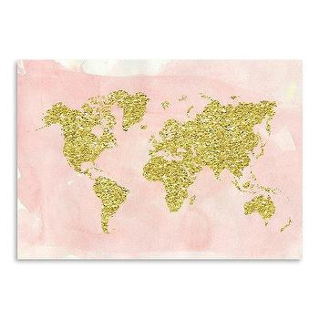 Modern blush map art products bookmarks design inspiration and world map gold blush graphic art gumiabroncs Image collections