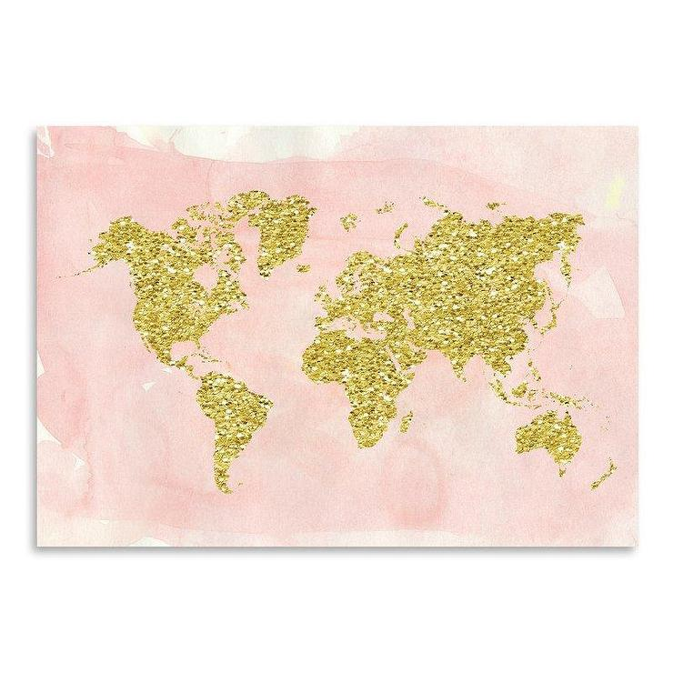 World Map Gold Blush Graphic Art