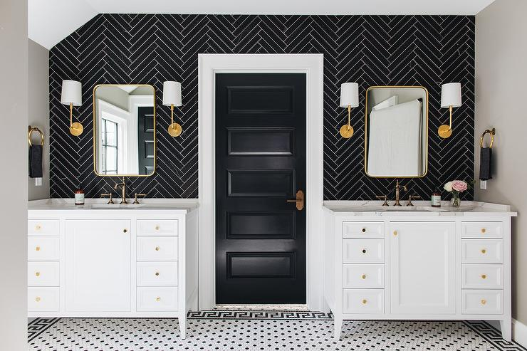 Black Herringbone Backsplash Tiles With Brass Mirror Transitional Bathroom