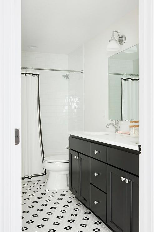 Black Bath Vanity With Black And White Hex Tiles