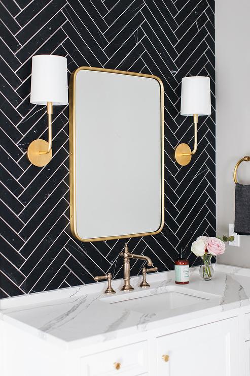 Curved Bathroom Vanity Backsplash Transitional Bathroom