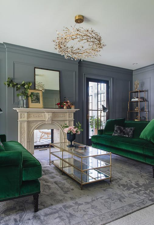 Emerald Green Velvet Sofas with Brass and Mirror Coffee ...