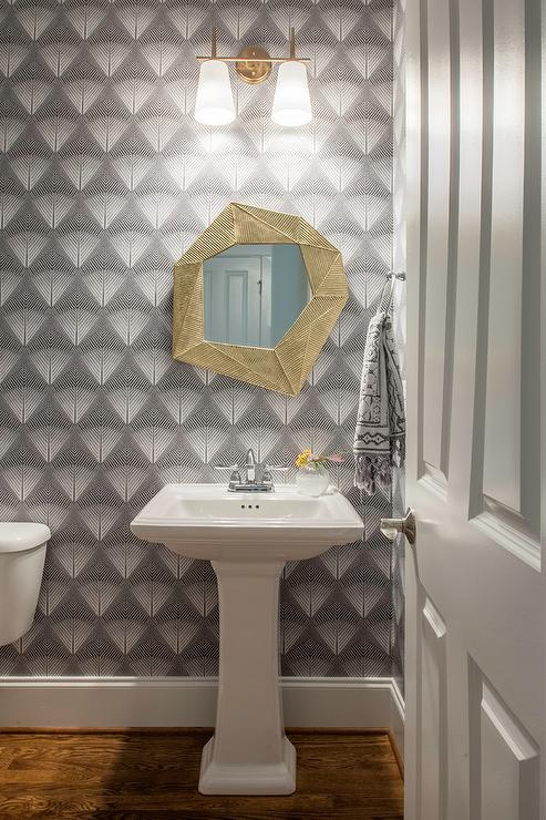 White And Gold Bathroom With Marble Floating Vanity