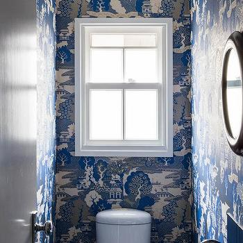 Blue Pagoda Wallpaper In Powder Room