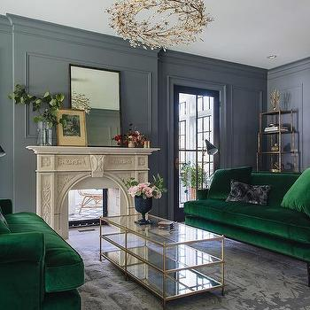 Emerald Green Velvet Sofas With Brass And Mirror Coffee Table