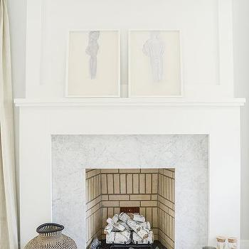 tile marble white fireplace surround