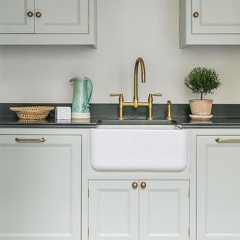 Light Gray Green Cabinets With Small Farm Sink