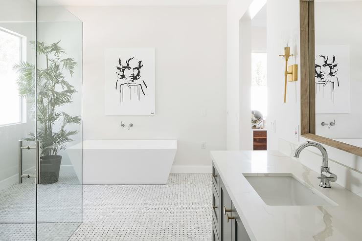 Marble Basketweave Floor Tiles Area A Classic Option For A Large Open  Concept Master Bathroom Featuring A Freestanding Rectangular Bathtub With A  Wall Mount ...