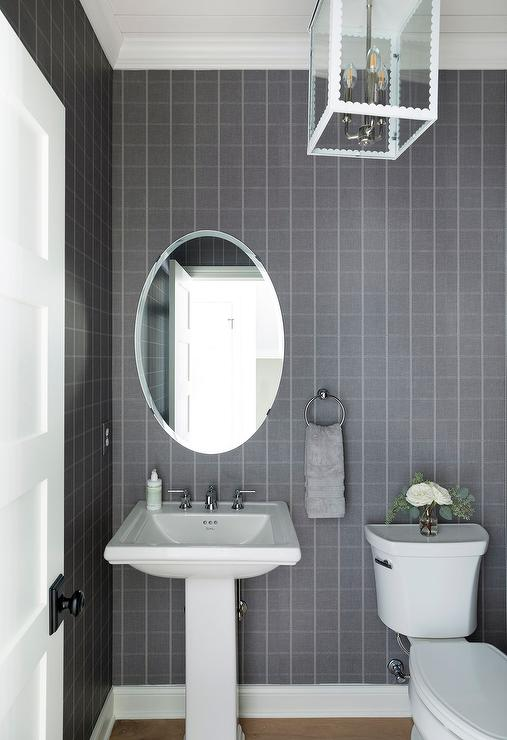 Gray Powder Room With Etoile Sconce Transitional Bathroom