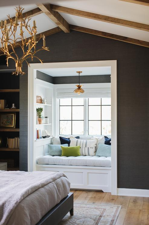 Astounding Window Seat Alcove With Gold Lotus Chandelier Transitional Caraccident5 Cool Chair Designs And Ideas Caraccident5Info