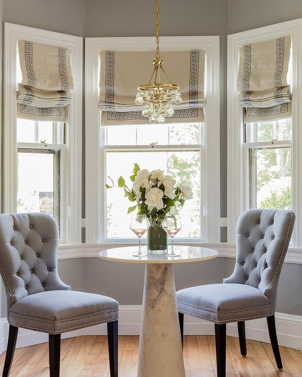 Greek Key Roman Shades On Dining Nook Bay Window Transitional Dining Room