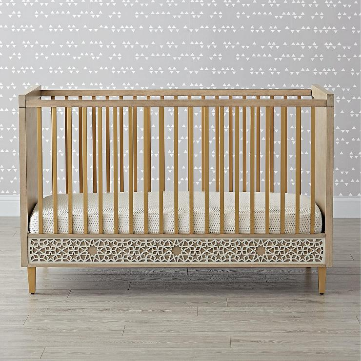 genevieve gorder latticework gray wood crib