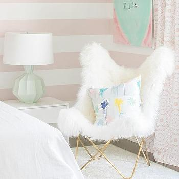 White And Gold Faux Fur Fur Butterfly Chair