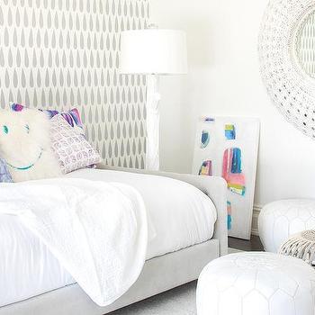 White Moroccan Leather Kid Room Poufs Design Ideas