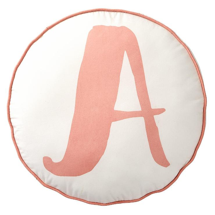 Lovely Letter Blush Round Throw Pillow