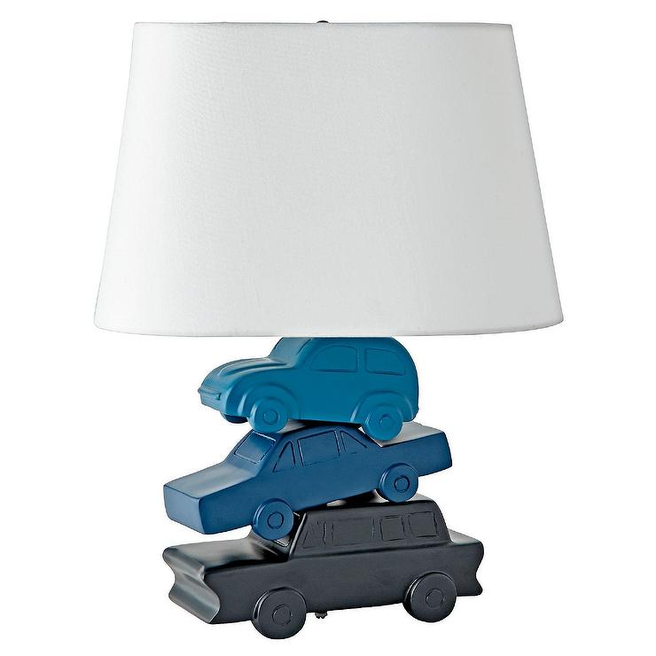 Stacked Cars Blue Ceramic Table Lamp