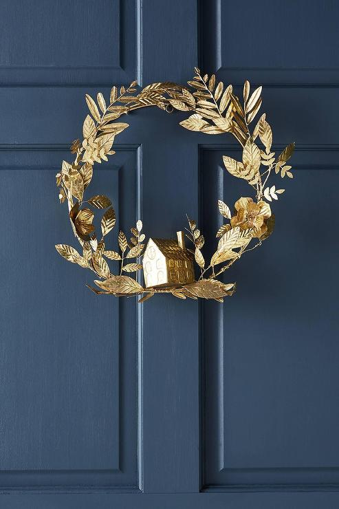Holiday Home Leaves Gold Metal Wreath