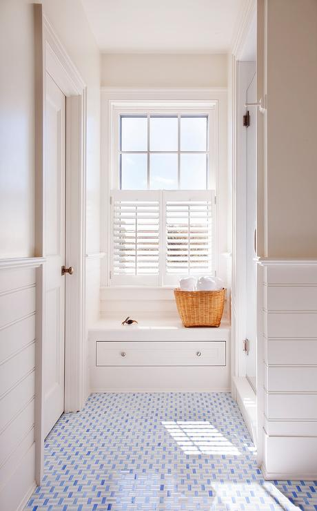 White And Blue Mosaic Bath Floor Tiles Transitional Bathroom
