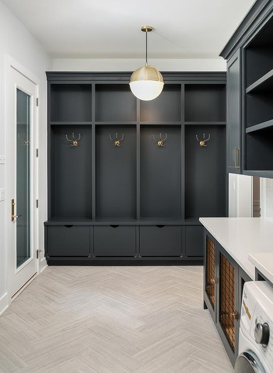 Black Mudroom Lockers With Black Shoe Drawers