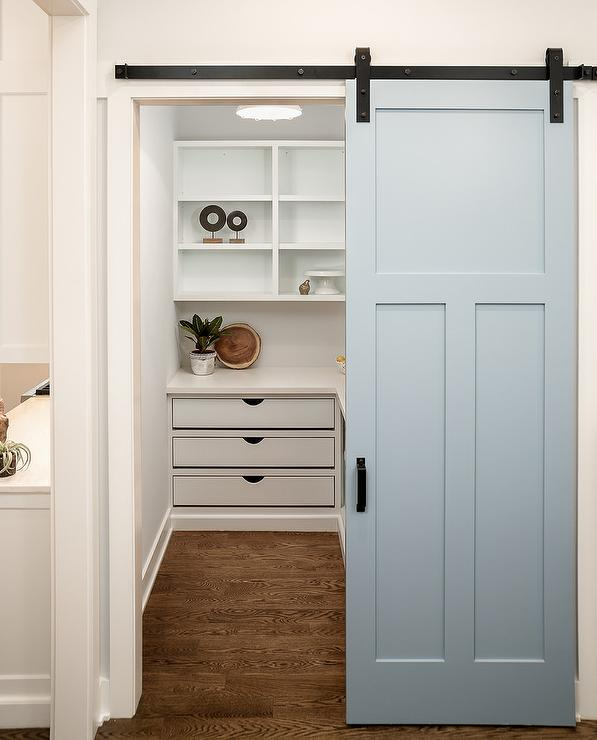 Beau Blue Paneled Pantry Barn Door On Rails