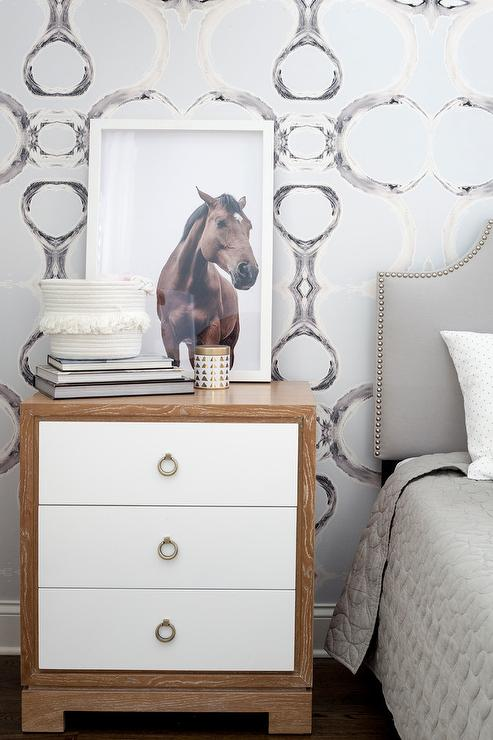 Gray and Black Accent Wallpaper with Bungalow 5 Nightstand