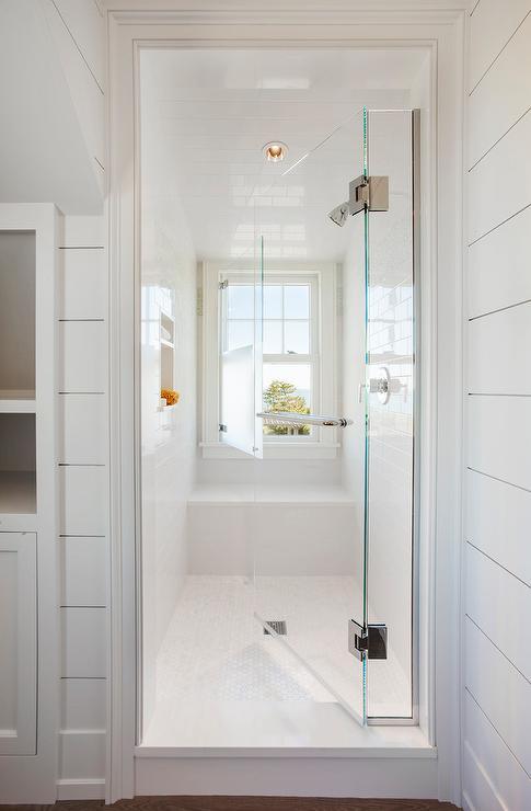 Frosted Glass Sliding Shower Door Rails Transitional Bathroom