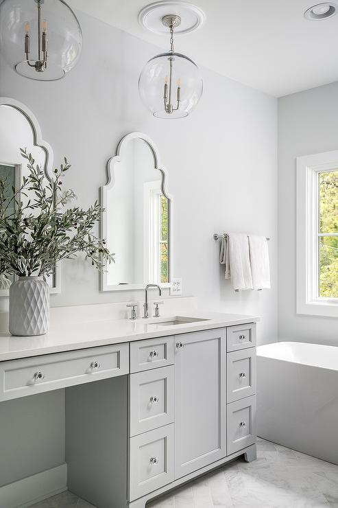 Light Gray And White Master Bath Colors Transitional