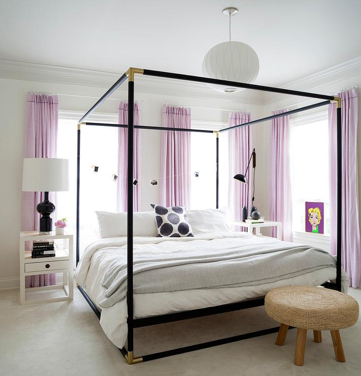 Gold canopy bed contemporary girl 39 s room - Black canopy bed curtains ...