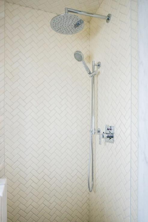 Herringbone Shower Tiles Design Ideas