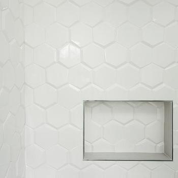 White Beveled Hex Shower Tiles
