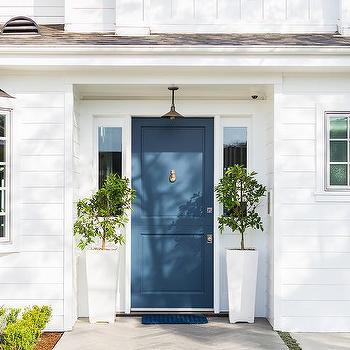 White house gray front door design ideas - House with blue door ...