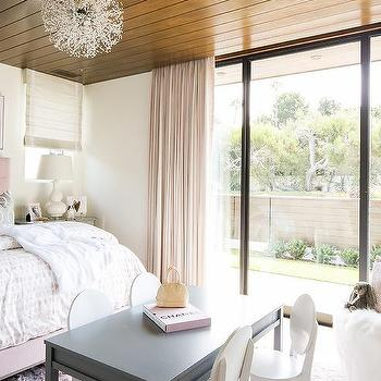 Stained Plank Girl Bedroom Ceiling Design Ideas