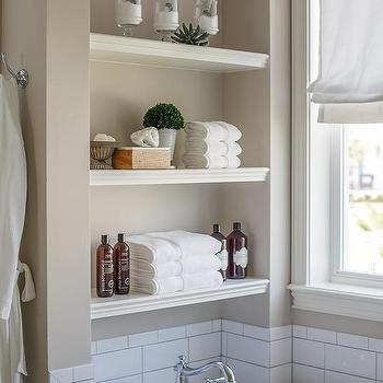 Stacked Bathtub Shelves Design Ideas