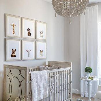 White weathered beaded nursery chandelier design ideas weathered white beaded nrrsery chandelier over gray wood crib aloadofball Image collections