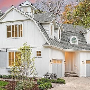 Cottage Home With Separate Garage Doors Design Ideas