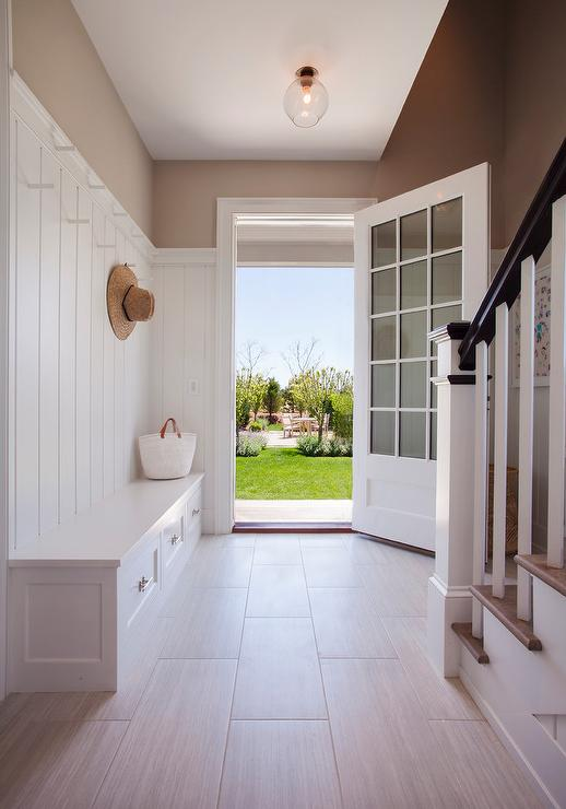 White And Brown Mudroom Colors Transitional Laundry Room