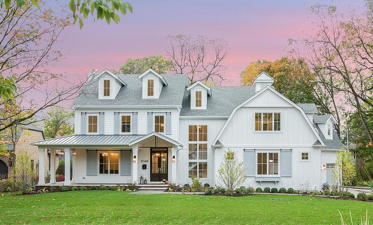 White Barn House Style Home Transitional Home Exterior