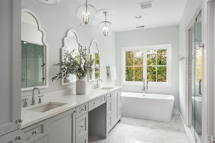 White Arch Mirrors With Gray Dual Washstand Transitional Bathroom