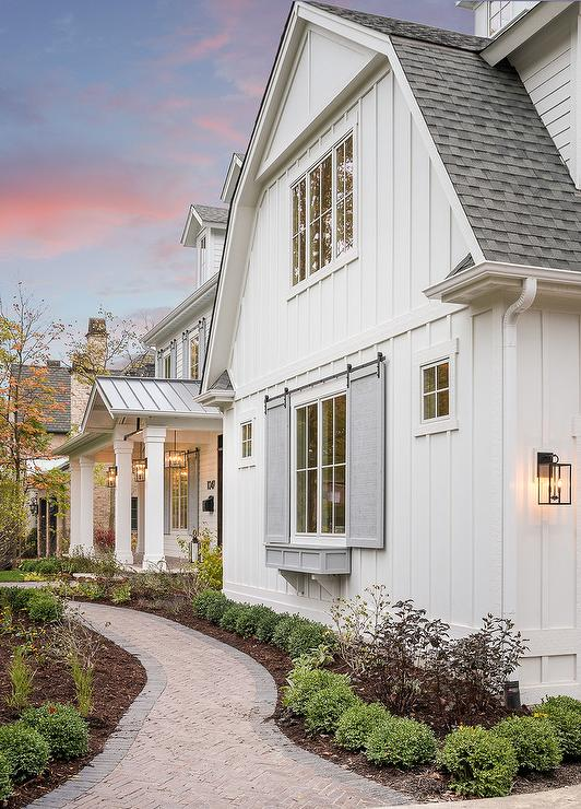 Gray Window Shutters on Rails - Transitional - Home Exterior