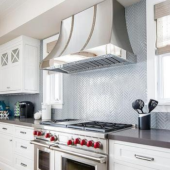 Blue Herringbone Kitchen Wall Tiles Design Ideas