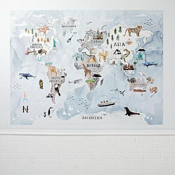 Modern globe map surestrip mural products bookmarks design watercolor world map mural decal gumiabroncs Choice Image