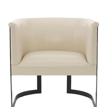 Zalina Curved Cream Leather Accent Chair